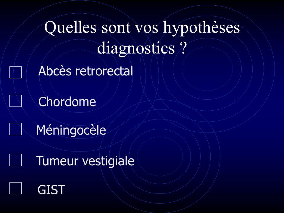 Quelles sont vos hypothèses diagnostics ? Tumeur vestigiale Abcès retrorectal Méningocèle Chordome GIST