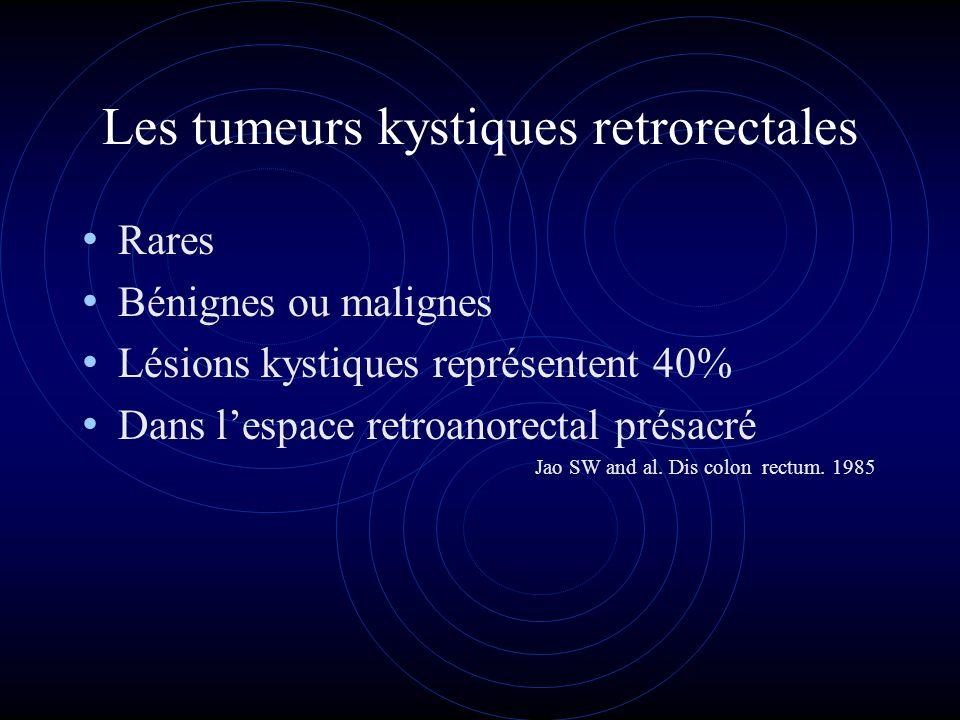 Les tumeurs kystiques retrorectales Rares Bénignes ou malignes Lésions kystiques représentent 40% Dans lespace retroanorectal présacré Jao SW and al.
