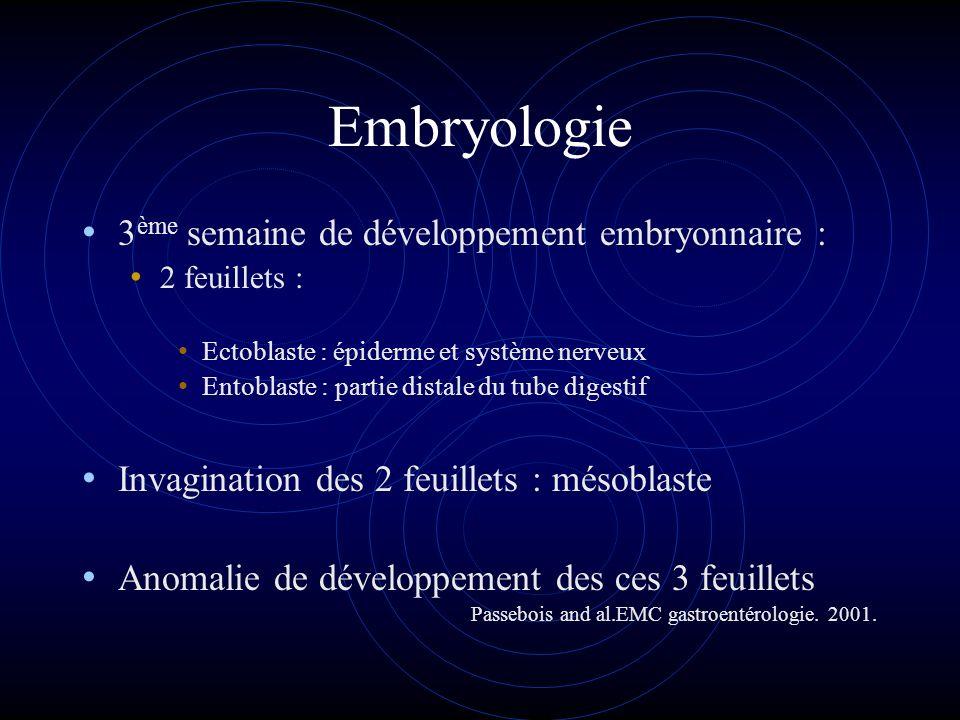 Embryologie 3 ème semaine de développement embryonnaire : 2 feuillets : Ectoblaste : épiderme et système nerveux Entoblaste : partie distale du tube d