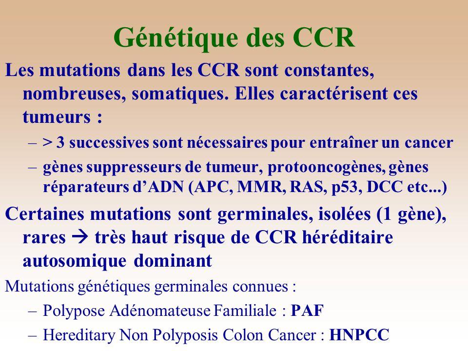 5 Voie « LOH » : Instabilité chromosomique Voie « LOH » : 85% CCR –Hyperploïdie –Mutations fréquentes : APC, K-ras et p53 –Pertes : 17p (p53) 18q (Smad2, DCC, DPC4-Smad 4) 5q (APC) 8p (TSG)