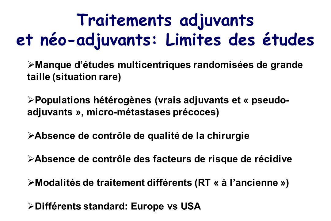 Traitements adjuvants et néo-adjuvants: Limites des études Manque détudes multicentriques randomisées de grande taille (situation rare) Populations hé