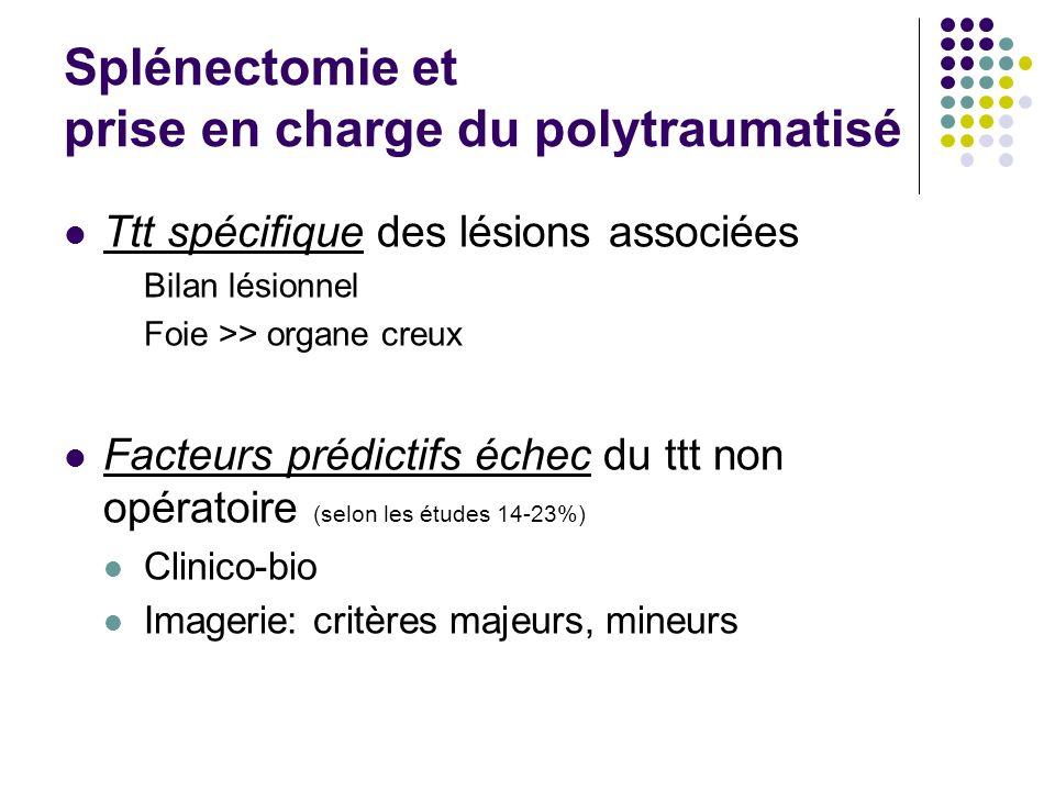 Splénectomie et prise en charge du polytraumatisé Ttt spécifique des lésions associées Bilan lésionnel Foie >> organe creux Facteurs prédictifs échec