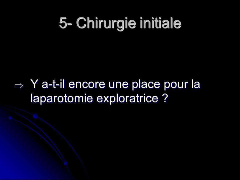 5- Chirurgie initiale Y a-t-il encore une place pour la laparotomie exploratrice ? Y a-t-il encore une place pour la laparotomie exploratrice ?