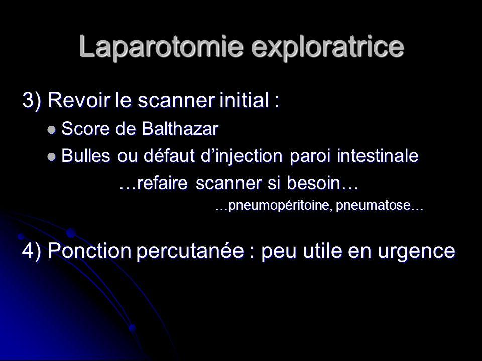Laparotomie exploratrice 3) Revoir le scanner initial : Score de Balthazar Score de Balthazar Bulles ou défaut dinjection paroi intestinale Bulles ou
