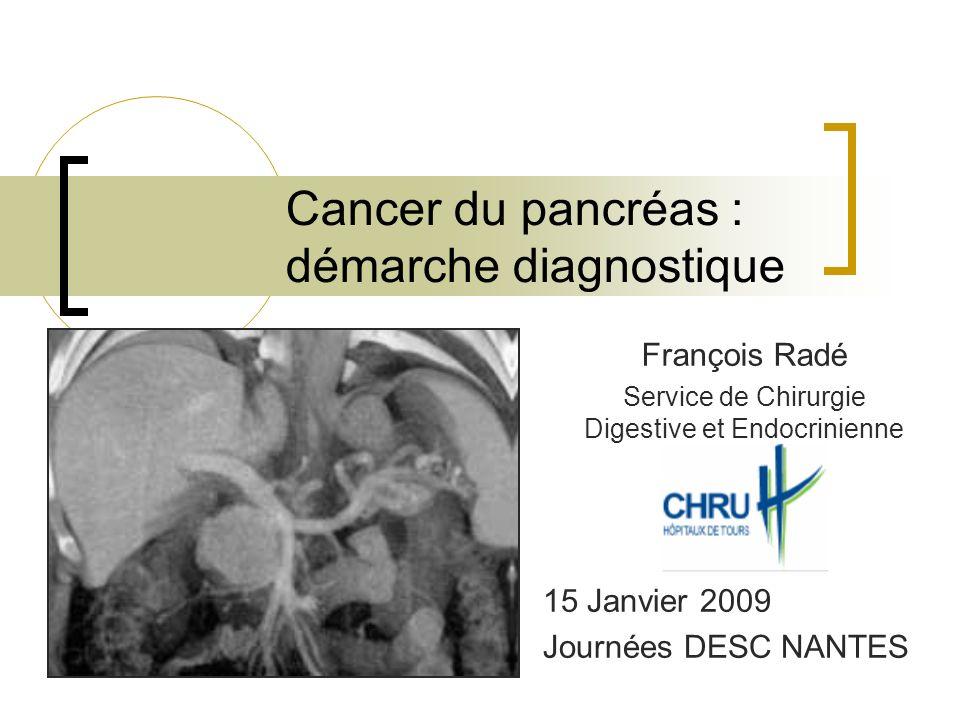 Cancer du pancréas : démarche diagnostique François Radé Service de Chirurgie Digestive et Endocrinienne 15 Janvier 2009 Journées DESC NANTES