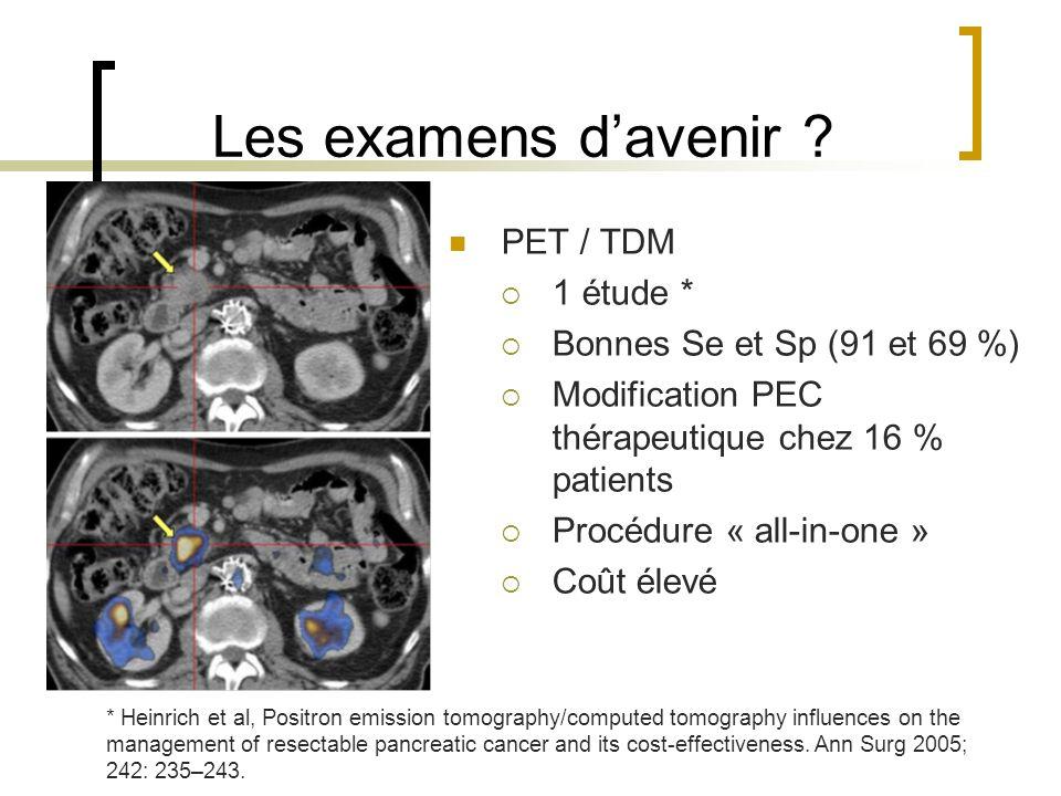 Les examens davenir ? PET / TDM 1 étude * Bonnes Se et Sp (91 et 69 %) Modification PEC thérapeutique chez 16 % patients Procédure « all-in-one » Coût