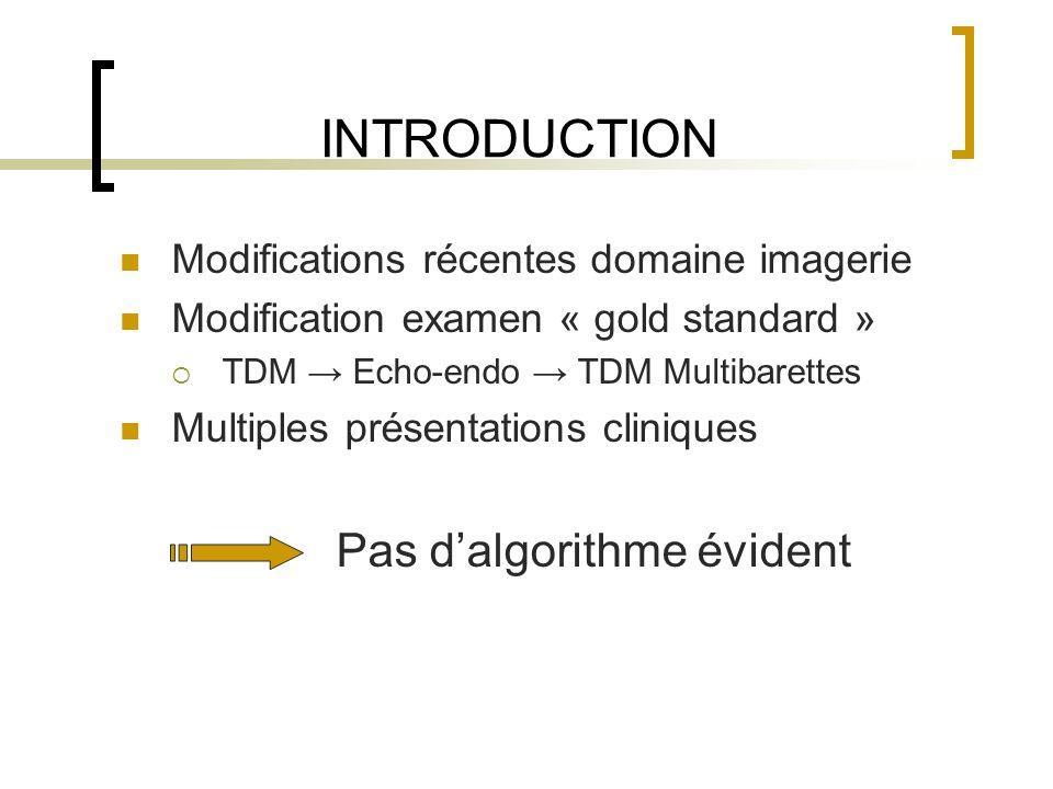 INTRODUCTION Modifications récentes domaine imagerie Modification examen « gold standard » TDM Echo-endo TDM Multibarettes Multiples présentations cli