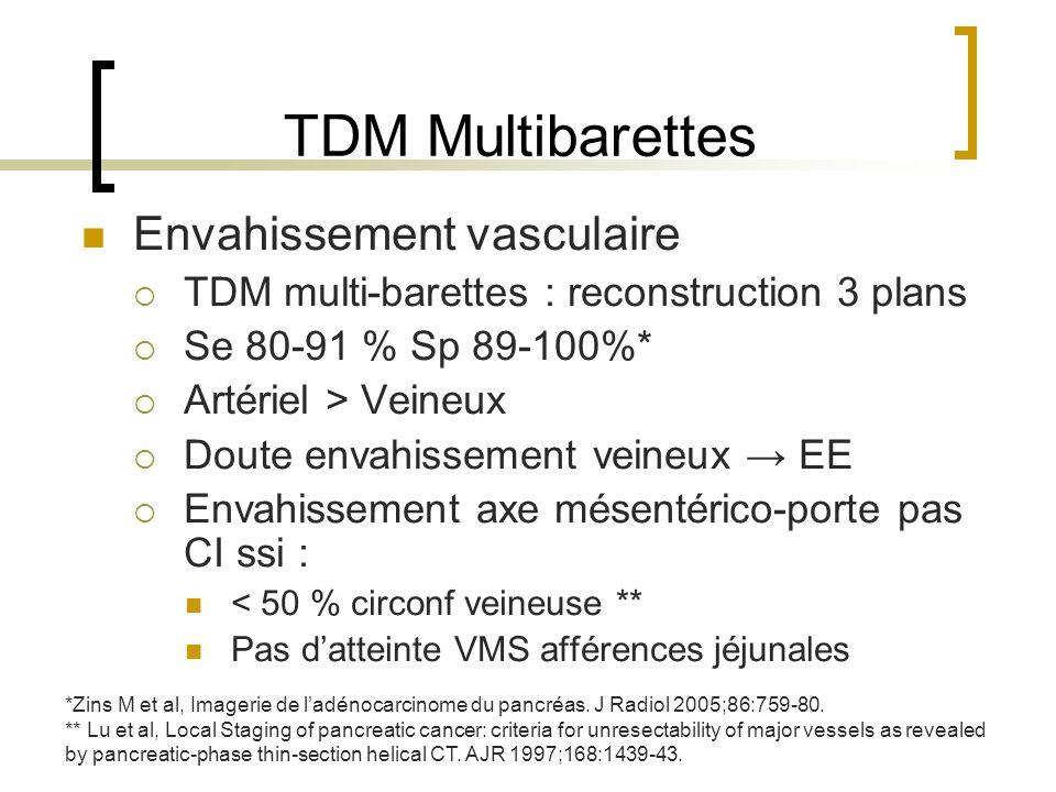 TDM Multibarettes Envahissement vasculaire TDM multi-barettes : reconstruction 3 plans Se 80-91 % Sp 89-100%* Artériel > Veineux Doute envahissement v