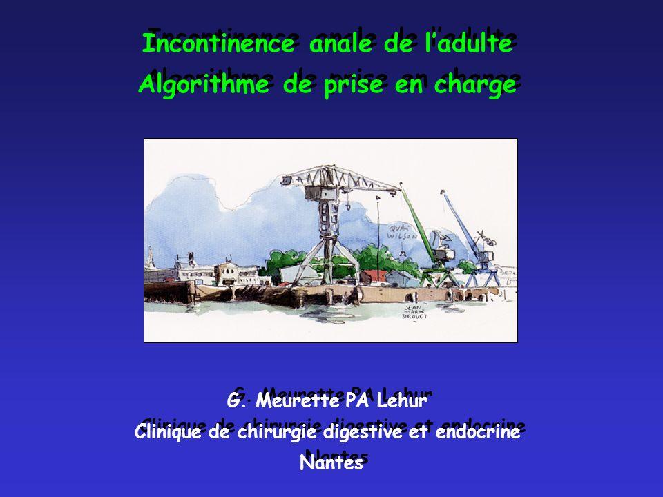 Incontinence anale de ladulte Algorithme de prise en charge G. Meurette PA Lehur Clinique de chirurgie digestive et endocrine Nantes Incontinence anal