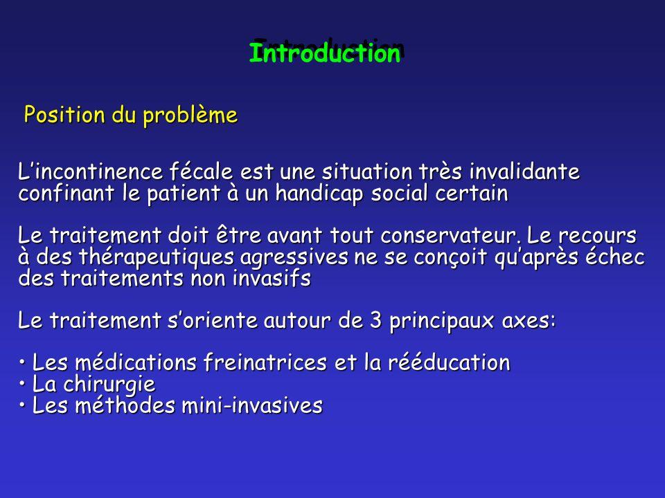 Introduction Position du problème Position du problème Lincontinence fécale est une situation très invalidante confinant le patient à un handicap soci
