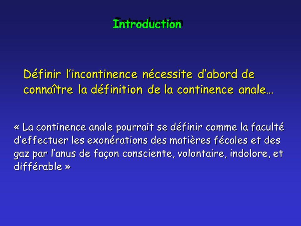 Définir lincontinence nécessite dabord de connaître la définition de la continence anale… « La continence anale pourrait se définir comme la faculté d