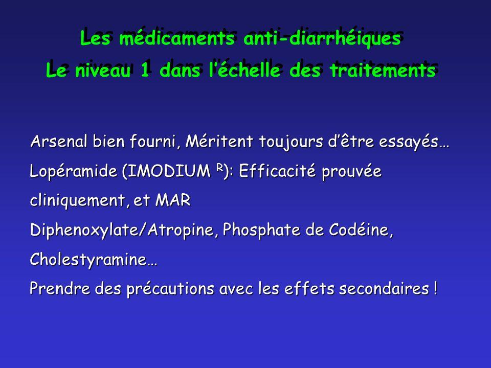 Les médicaments anti-diarrhéiques Le niveau 1 dans léchelle des traitements Les médicaments anti-diarrhéiques Le niveau 1 dans léchelle des traitements Arsenal bien fourni, Méritent toujours dêtre essayés… Lopéramide (IMODIUM R ): Efficacité prouvée cliniquement, et MAR Diphenoxylate/Atropine, Phosphate de Codéine, Cholestyramine… Prendre des précautions avec les effets secondaires !