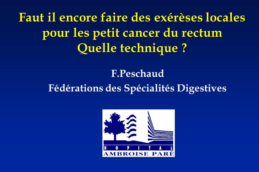 Quand peut on lenvisager RPC 2005 Toucher rectal – tumeur mobile – Tumeur occupant au maximum ½ circonférence Taille tumeur < 3 cm Echoendoscopie – uTis – uT1no IRM : peut dintérêt pour petite tumeur