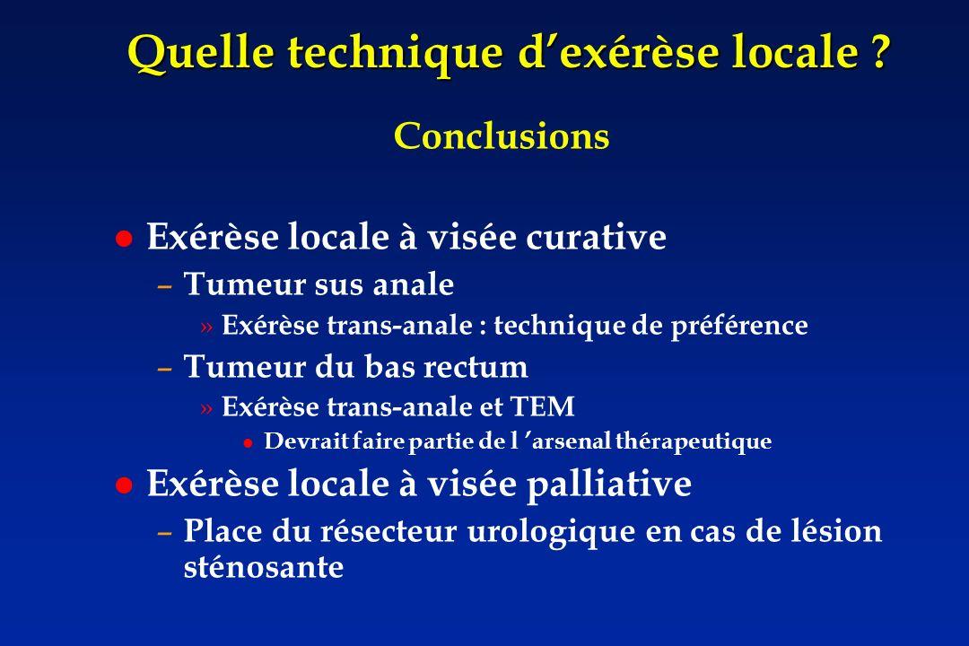 Quelle technique dexérèse locale ? Conclusions Exérèse locale à visée curative – Tumeur sus anale » Exérèse trans-anale : technique de préférence – Tu