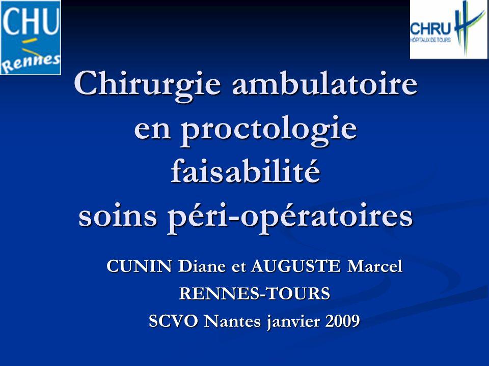 CUNIN Diane et AUGUSTE Marcel RENNES-TOURS SCVO Nantes janvier 2009 Chirurgie ambulatoire en proctologie faisabilité soins péri-opératoires