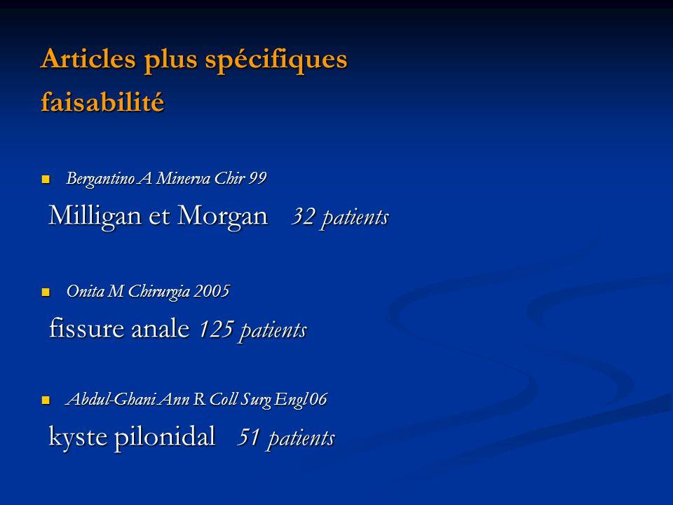 Articles plus spécifiques faisabilité Bergantino A Minerva Chir 99 Bergantino A Minerva Chir 99 Milligan et Morgan 32 patients Milligan et Morgan 32 p