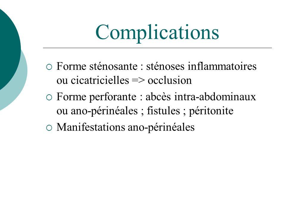 Complications Forme sténosante : sténoses inflammatoires ou cicatricielles => occlusion Forme perforante : abcès intra-abdominaux ou ano-périnéales ;