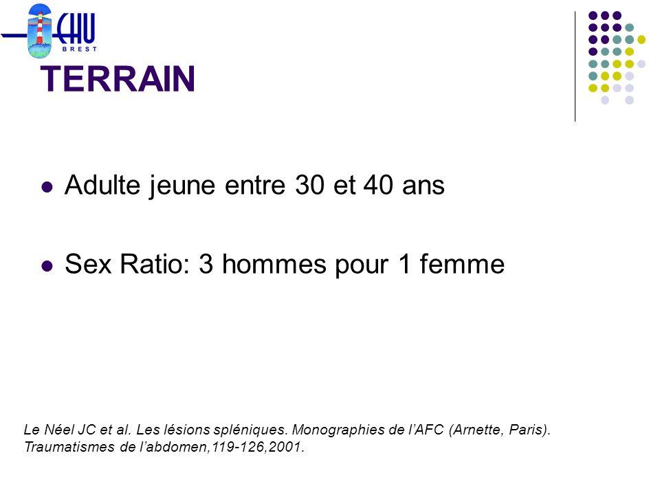 Adulte jeune entre 30 et 40 ans Sex Ratio: 3 hommes pour 1 femme TERRAIN Le Néel JC et al. Les lésions spléniques. Monographies de lAFC (Arnette, Pari