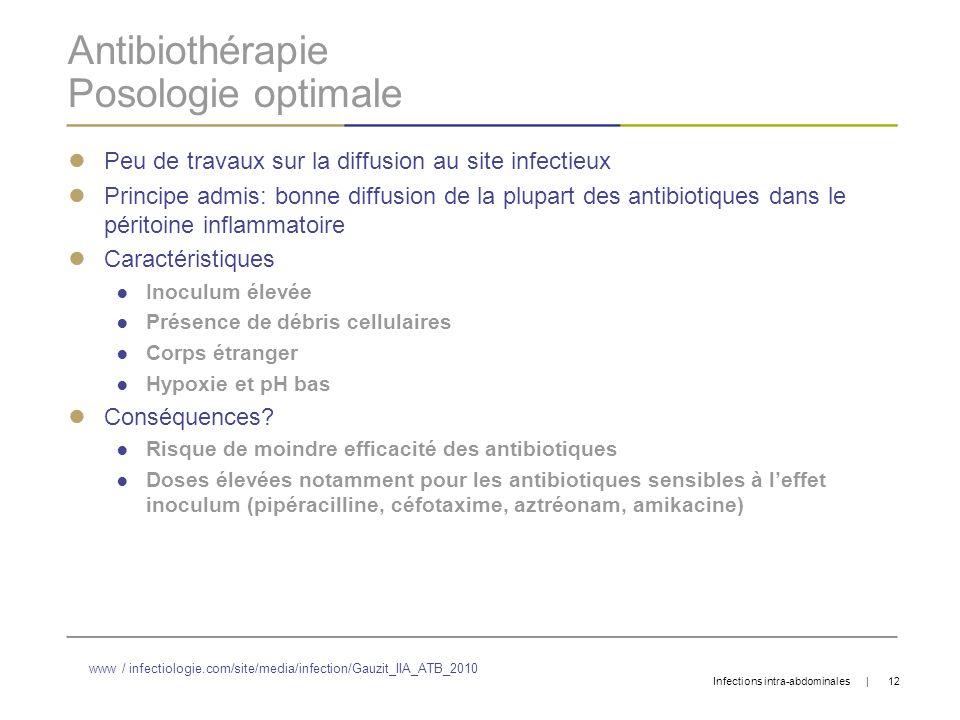 Antibiothérapie Posologie optimale Peu de travaux sur la diffusion au site infectieux Principe admis: bonne diffusion de la plupart des antibiotiques