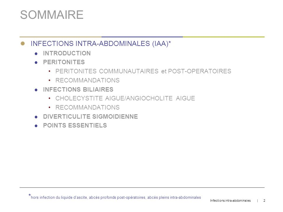 Introduction | 3 Infections intra-abdominales