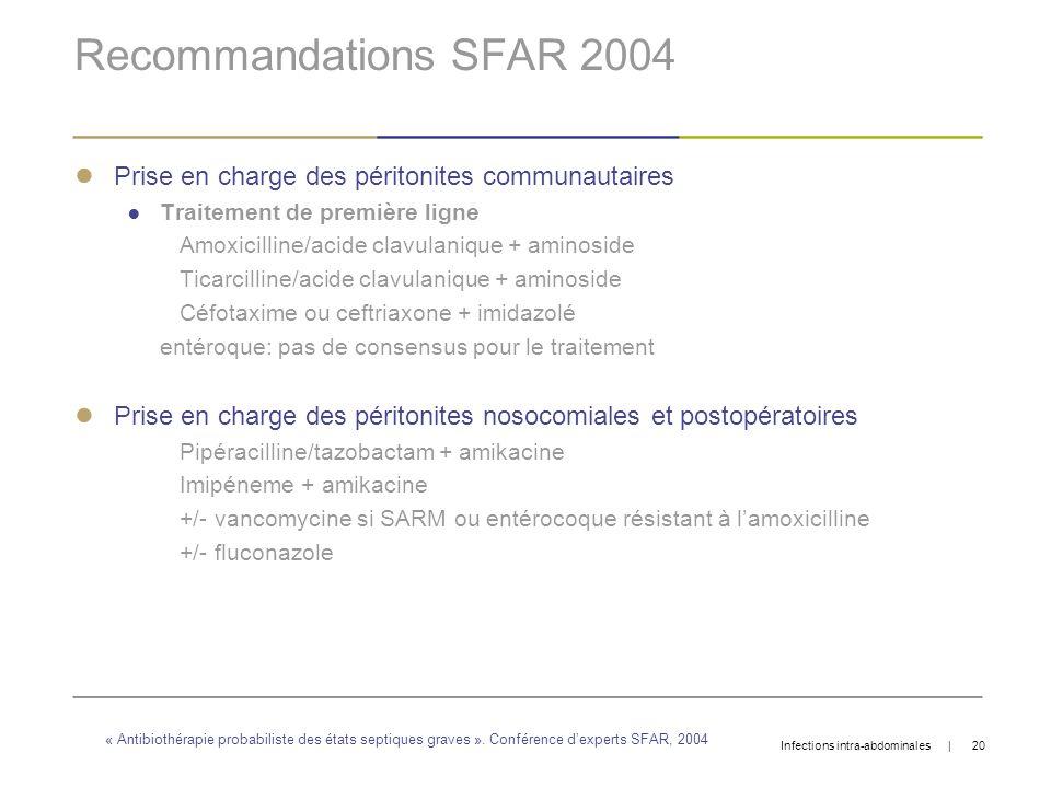 Recommandations SFAR 2004 Prise en charge des péritonites communautaires Traitement de première ligne Amoxicilline/acide clavulanique + aminoside Tica