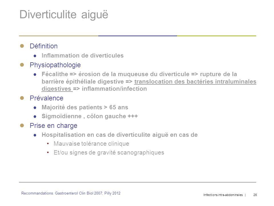 Diverticulite aiguë Définition Inflammation de diverticules Physiopathologie Fécalithe => érosion de la muqueuse du diverticule => rupture de la barri