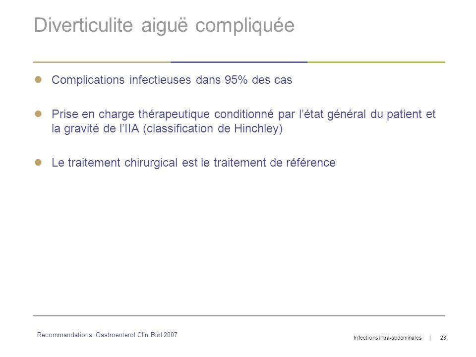 Diverticulite aiguë compliquée Complications infectieuses dans 95% des cas Prise en charge thérapeutique conditionné par létat général du patient et l