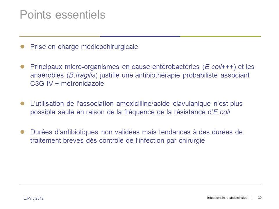 Points essentiels Prise en charge médicochirurgicale Principaux micro-organismes en cause entérobactéries (E.coli+++) et les anaérobies (B.fragilis) j