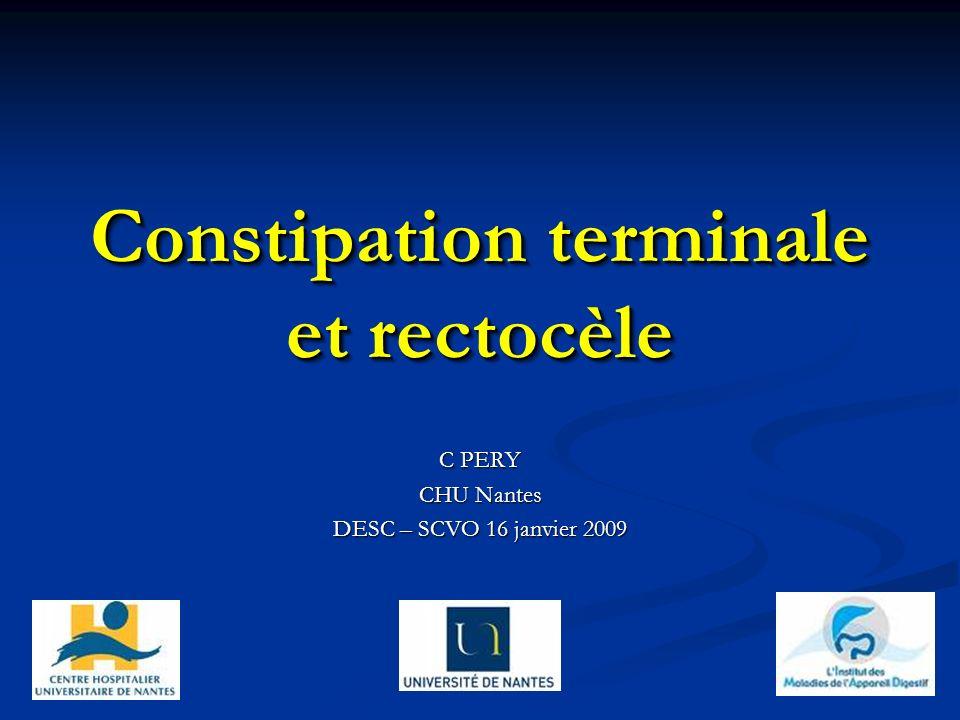 Constipation terminale et rectocèle C PERY CHU Nantes DESC – SCVO 16 janvier 2009