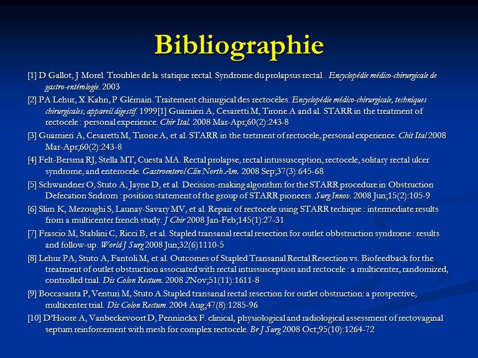 Bibliographie [1] D Gallot, J Morel. Troubles de la statique rectal. Syndrome du prolapsus rectal. Encyclopédie médico-chirurgicale de gastro-entérolo