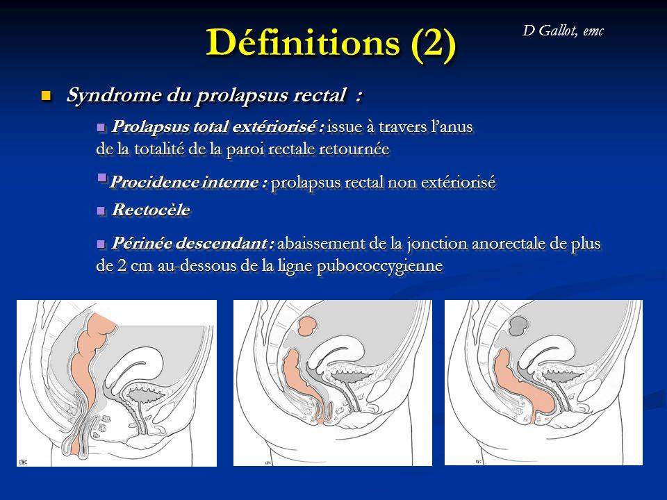 Définition (3) Modes dexpression de la rectocèle : Constipation terminale (= dyschésie) Dyspareunie Sensation de corps étranger Totalement asymptomatique Modes dexpression de la rectocèle : Constipation terminale (= dyschésie) Dyspareunie Sensation de corps étranger Totalement asymptomatique
