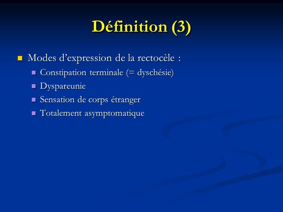 Définition (3) Modes dexpression de la rectocèle : Constipation terminale (= dyschésie) Dyspareunie Sensation de corps étranger Totalement asymptomati