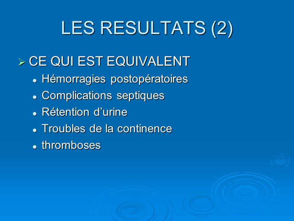 LES RESULTATS (2) CE QUI EST EQUIVALENT CE QUI EST EQUIVALENT Hémorragies postopératoires Hémorragies postopératoires Complications septiques Complica