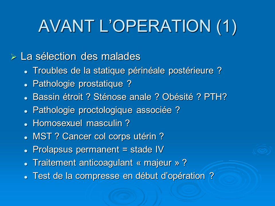 AVANT LOPERATION (1) La sélection des malades La sélection des malades Troubles de la statique périnéale postérieure ? Troubles de la statique périnéa