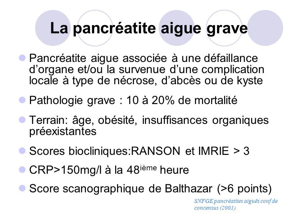 La pancréatite aigue grave Pancréatite aigue associée à une défaillance dorgane et/ou la survenue dune complication locale à type de nécrose, dabcès o