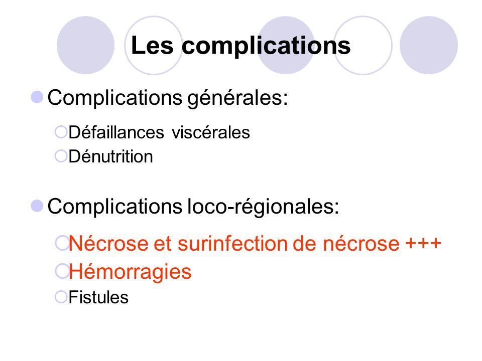 Les complications Complications générales: Défaillances viscérales Dénutrition Complications loco-régionales: Nécrose et surinfection de nécrose +++ H