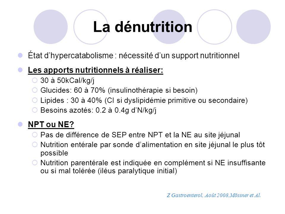 La dénutrition État dhypercatabolisme : nécessité dun support nutritionnel Les apports nutritionnels à réaliser: 30 à 50kCal/kg/j Glucides: 60 à 70% (