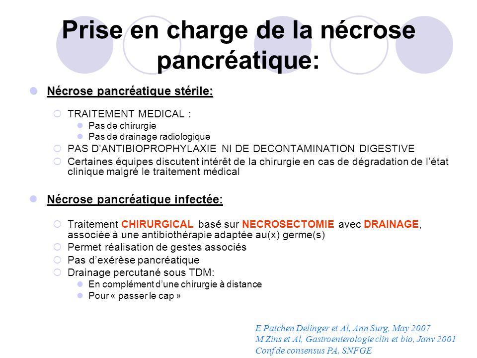 Prise en charge de la nécrose pancréatique: Nécrose pancréatique stérile: Nécrose pancréatique stérile: TRAITEMENT MEDICAL : Pas de chirurgie Pas de d
