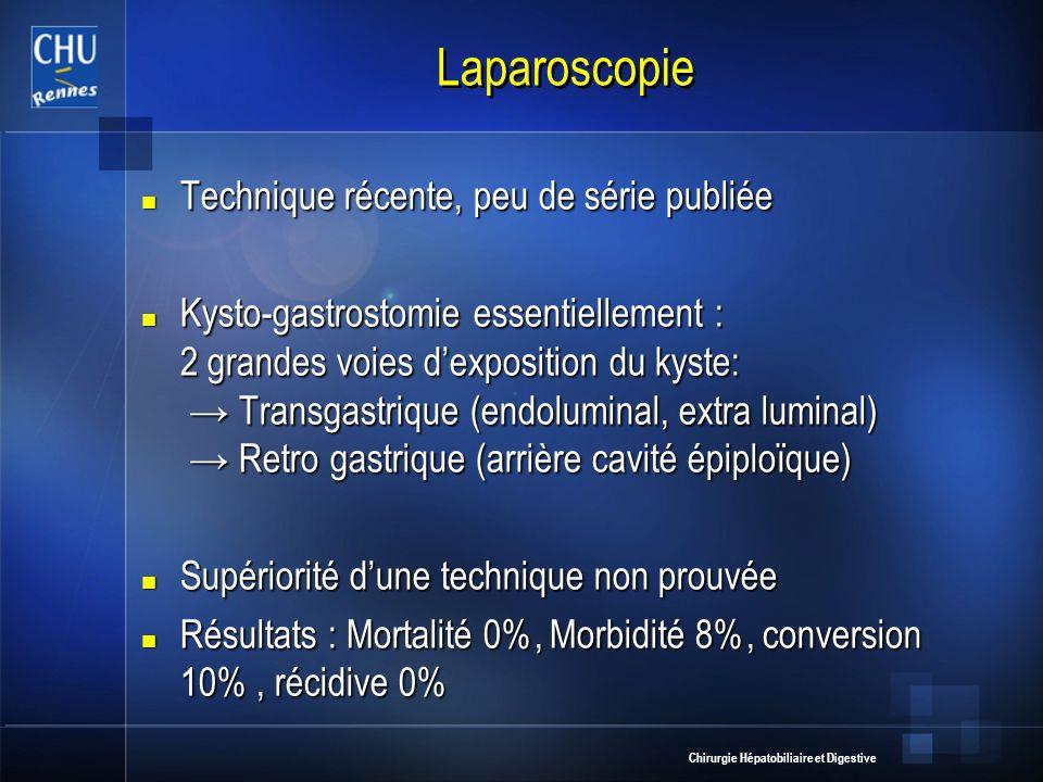Chirurgie Hépatobiliaire et Digestive Laparoscopie Technique récente, peu de série publiée Technique récente, peu de série publiée Kysto-gastrostomie