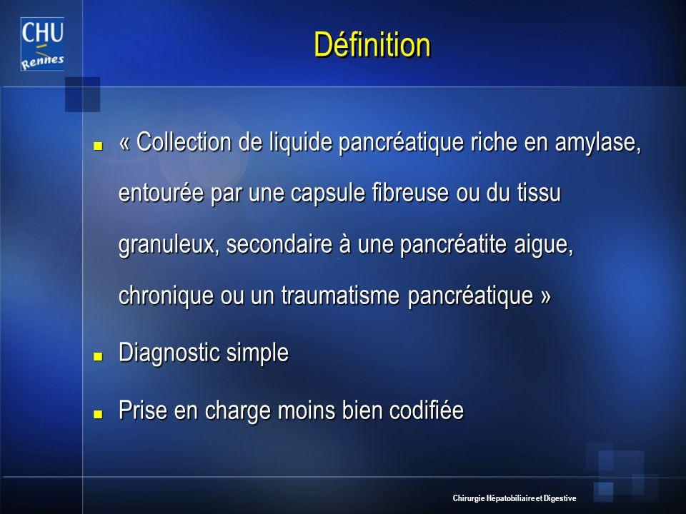 Chirurgie Hépatobiliaire et Digestive Définition « Collection de liquide pancréatique riche en amylase, entourée par une capsule fibreuse ou du tissu