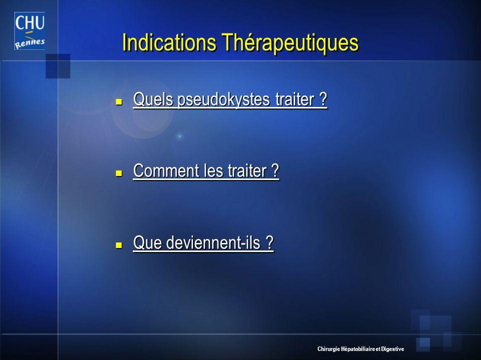 Chirurgie Hépatobiliaire et Digestive Indications Thérapeutiques Quels pseudokystes traiter ? Quels pseudokystes traiter ? Comment les traiter ? Comme