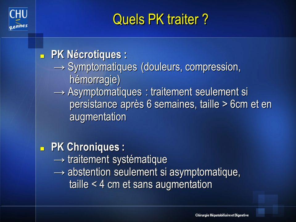 Chirurgie Hépatobiliaire et Digestive Quels PK traiter ? PK Nécrotiques : Symptomatiques (douleurs, compression, hémorragie) Asymptomatiques : traitem