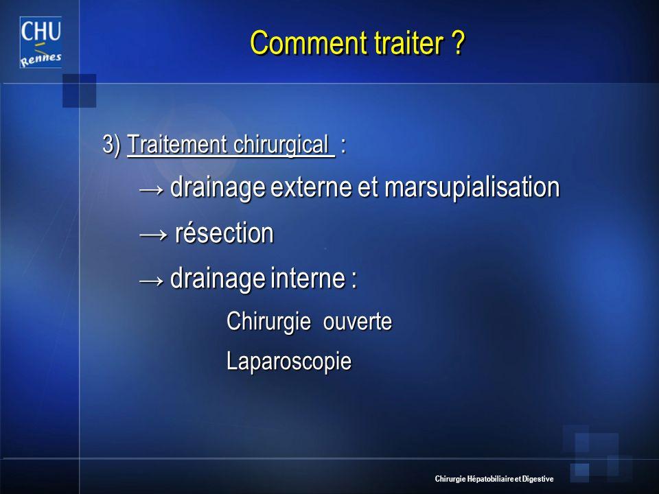 Chirurgie Hépatobiliaire et Digestive Comment traiter ? 3) Traitement chirurgical : drainage externe et marsupialisation résection drainage interne :