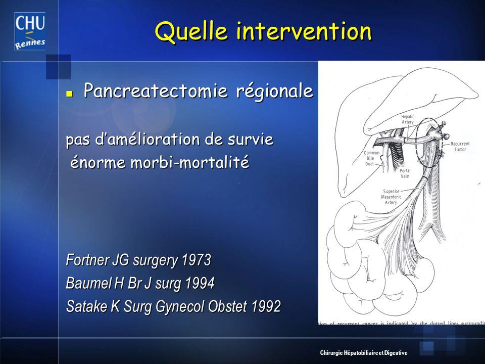 Chirurgie Hépatobiliaire et Digestive Quelle intervention Pancreatectomie régionale Pancreatectomie régionale pas damélioration de survie énorme morbi
