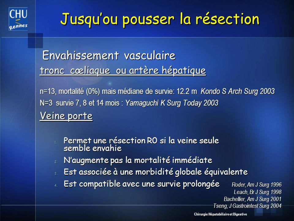 Chirurgie Hépatobiliaire et Digestive Jusquou pousser la résection Envahissement vasculaire Envahissement vasculaire tronc cœliaque ou artère hépatiqu