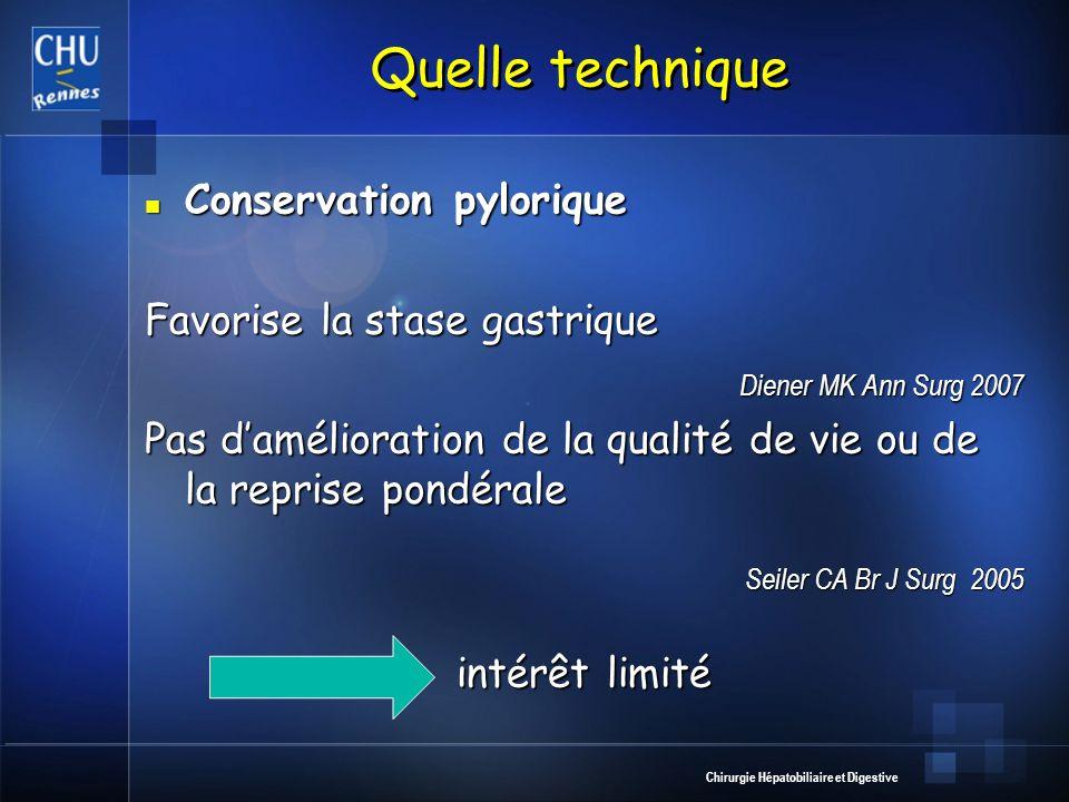 Chirurgie Hépatobiliaire et Digestive Quelle technique Conservation pylorique Conservation pylorique Favorise la stase gastrique Diener MK Ann Surg 20