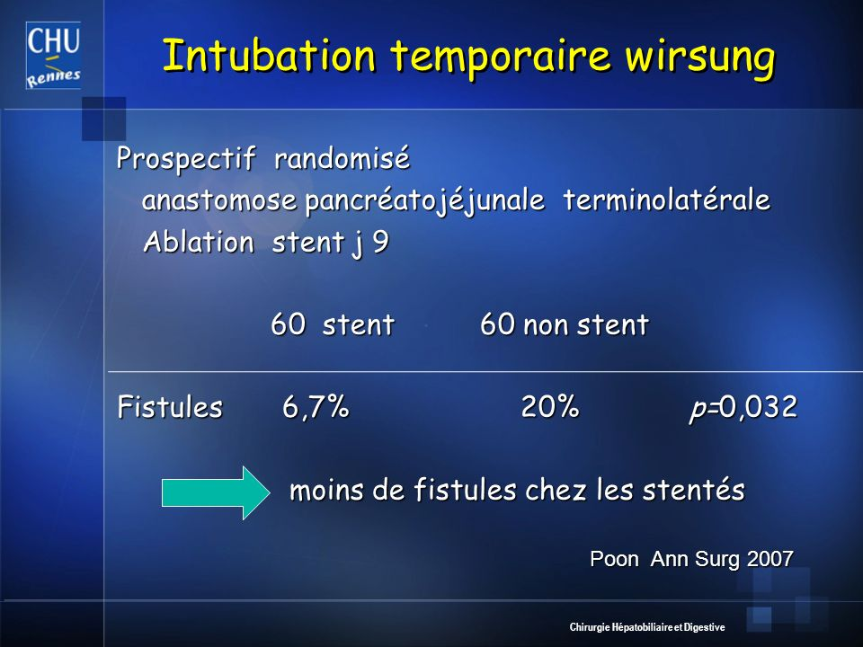 Chirurgie Hépatobiliaire et Digestive Intubation temporaire wirsung Prospectif randomisé anastomose pancréatojéjunale terminolatérale anastomose pancr