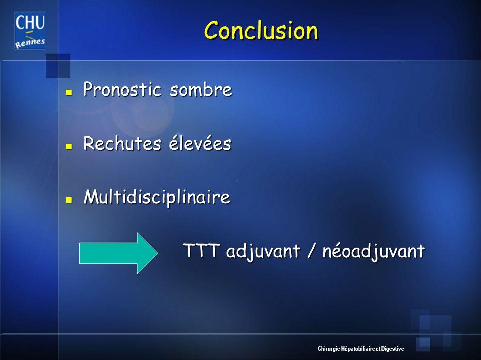 Chirurgie Hépatobiliaire et Digestive Conclusion Pronostic sombre Pronostic sombre Rechutes élevées Rechutes élevées Multidisciplinaire Multidisciplin