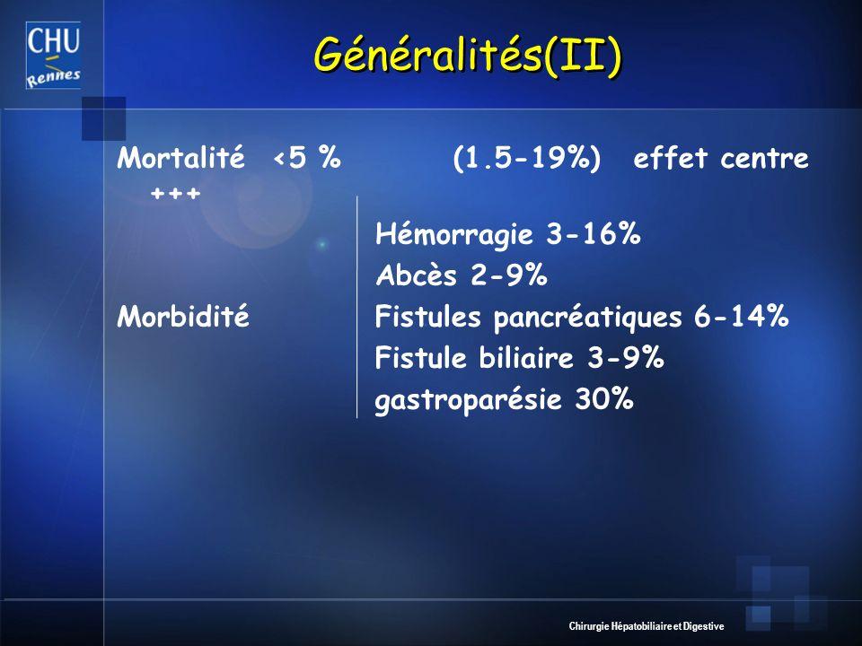 Chirurgie Hépatobiliaire et Digestive Généralités(II) Mortalité <5 % (1.5-19%) effet centre +++ Hémorragie 3-16% Abcès 2-9% MorbiditéFistules pancréatiques 6-14% Fistule biliaire 3-9% gastroparésie 30%