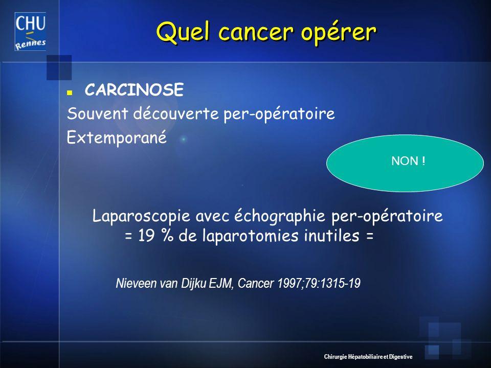 Chirurgie Hépatobiliaire et Digestive Quel cancer opérer CARCINOSE Souvent découverte per-opératoire Extemporané Laparoscopie avec échographie per-opé